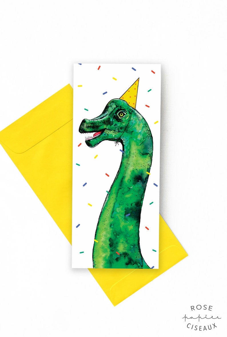 Birthday Card with a dinosaur // Illustration of a image 0
