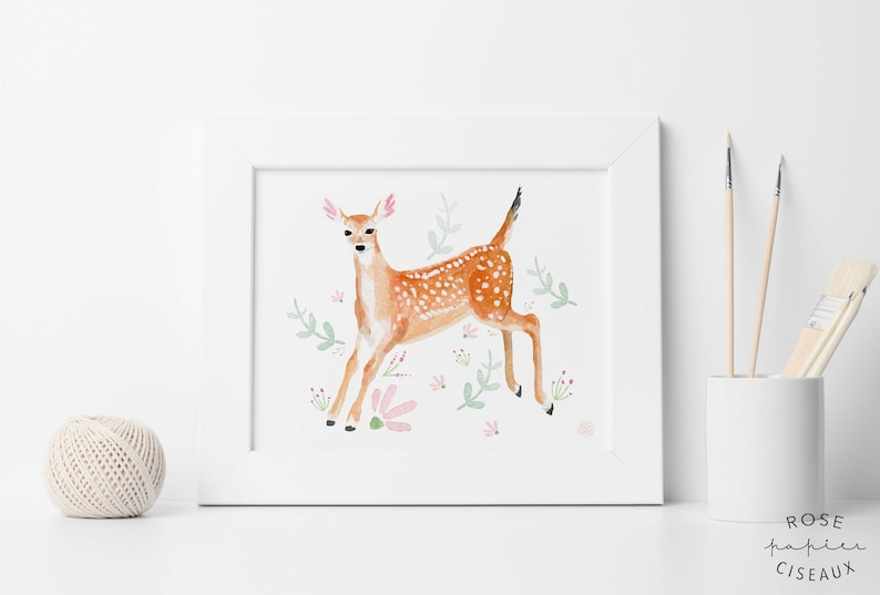 Poster fawn // 8 x 10 inches Illustration of a baby deer with image 0