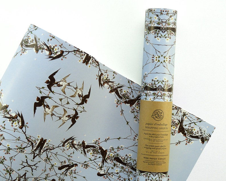 Gift Wrap Little Sparrows // Wrapping Paper Bird Magnolia image 0
