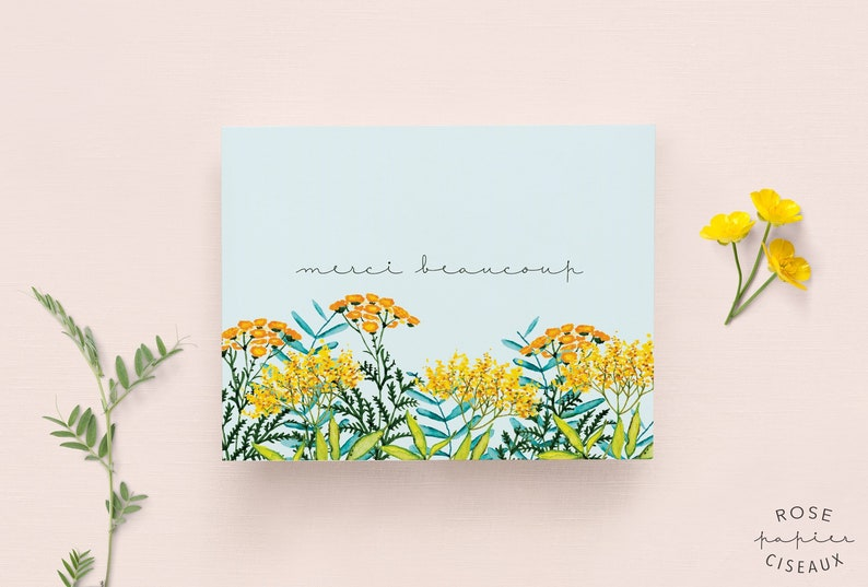 Thank you Card in French with envelope // Flower Illustration image 0