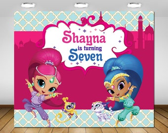 Shimmer And Shine Party Backdrop Decor DIY Birthday Poster