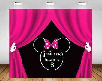 Minnie Mouse Party Backdroppolka Dot Minnie Backdrop Etsy