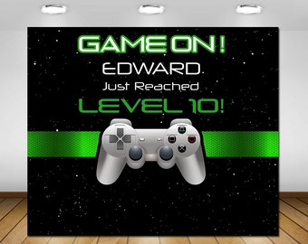 Video Game Backdrop Birthday Party Decor Gaming Decorations Poster Sign Banner