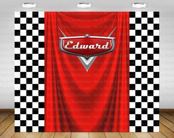 Cars Birthday Party Backdrop Decorations Banner Poster Sign Checkers 72x60