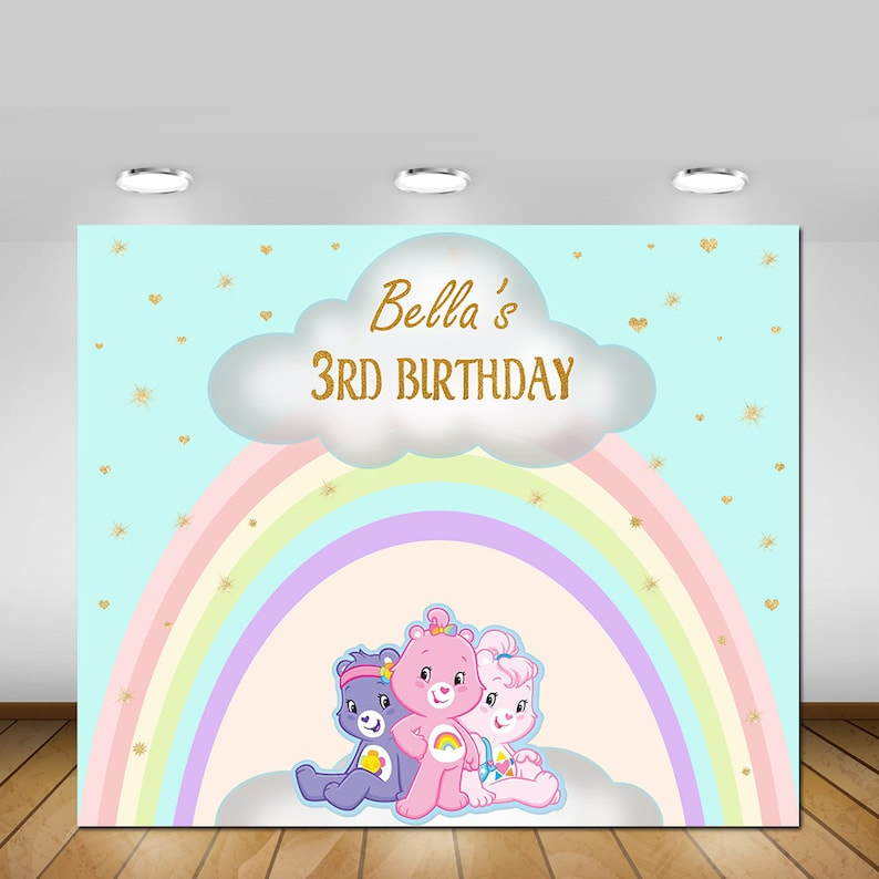Printable Care Bears Birthday Backdrop PosterSign Banner Baby Girl First Party Decorations