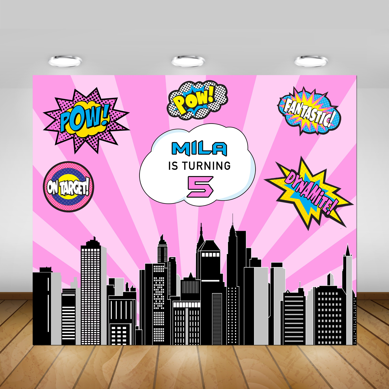 Superhero Backdrop Super Girl Backdrop Printable Superhero | Etsy
