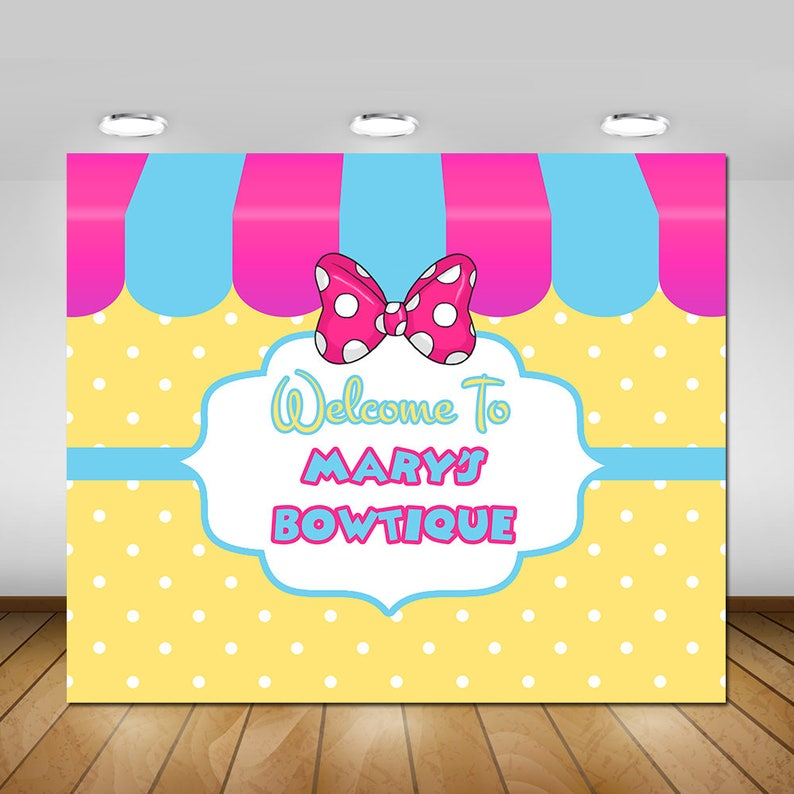 Minnies Bow Tique Party Backdrop Bowtique Birthday