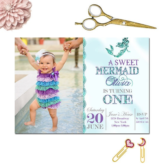 Mermaid Invitation First Birthday Gold Glitter Under The Sea