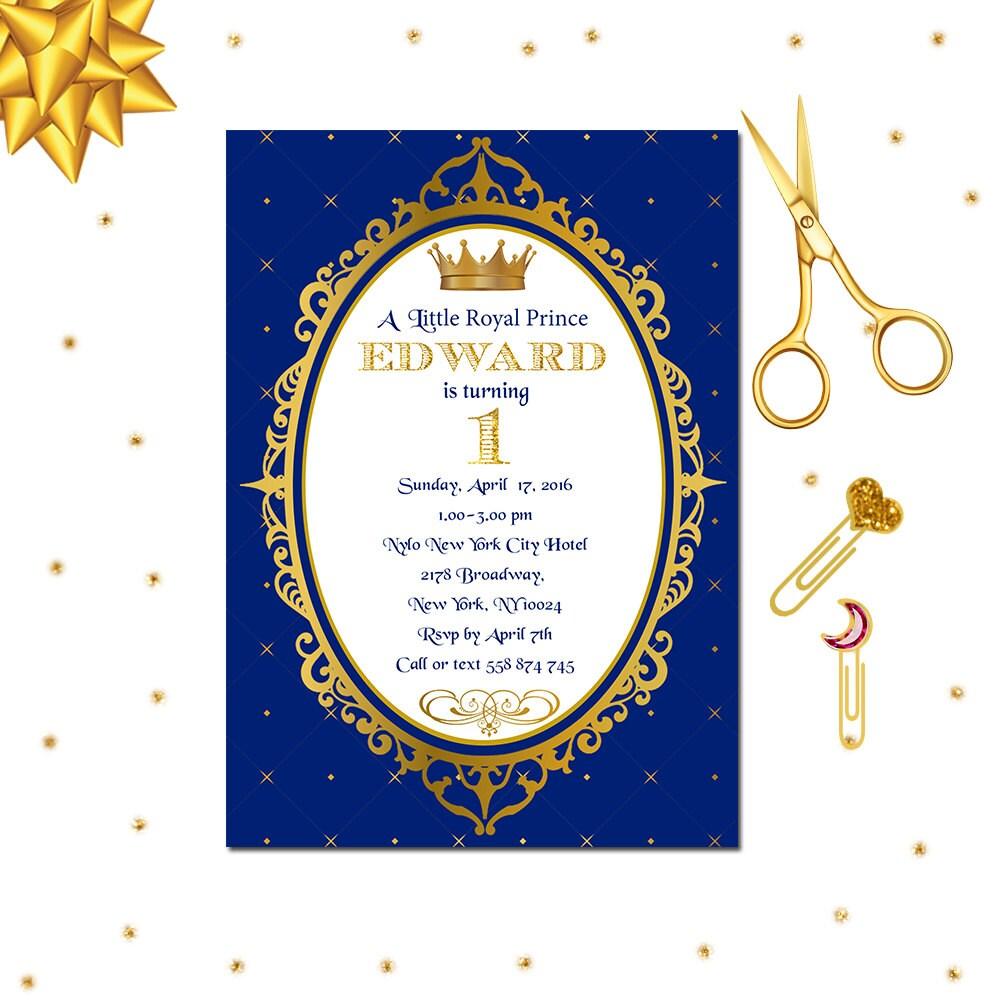 Royal Prince Invitation Royal 1st Birthday Invitation Little   Etsy