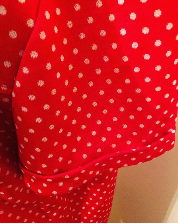 60s Red/Orange polka-dots | polyester  Pants Suit… - image 4
