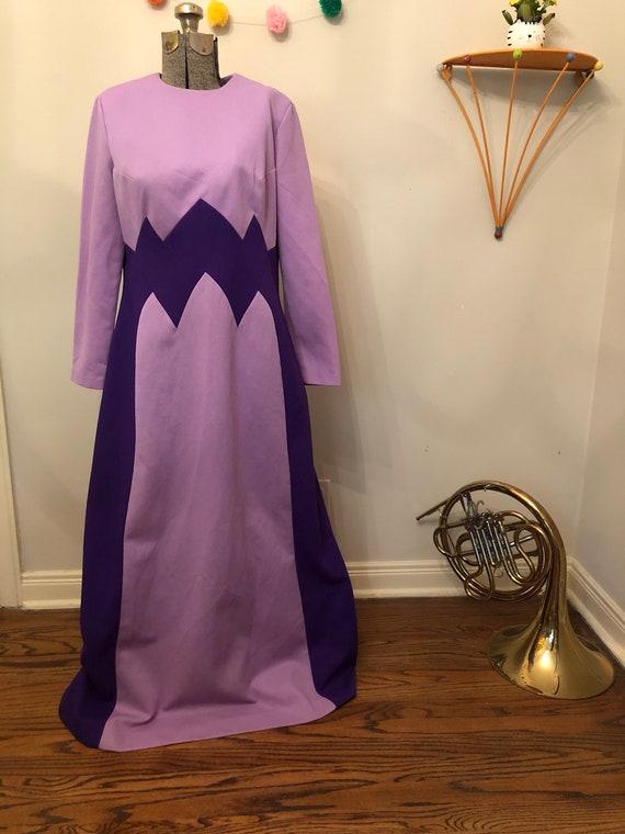 1960s Mod Purple Chevron Maxi Dress