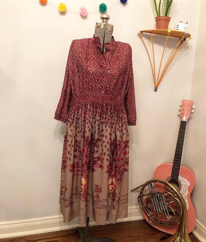 Vintage 70s Peacock Boho Dress by Serbin Muriel Ryan size 12-14