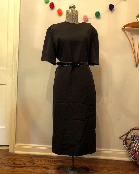 Vintage 1980s Black Shift Dress by Diane Roberts 2