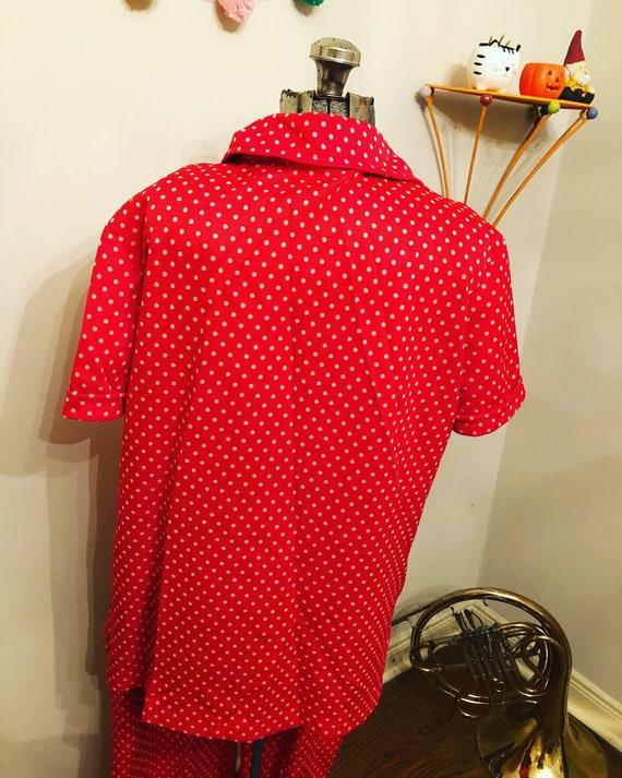 60s Red/Orange polka-dots | polyester  Pants Suit… - image 2