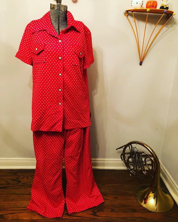 60s Red/Orange polka-dots | polyester  Pants Suit