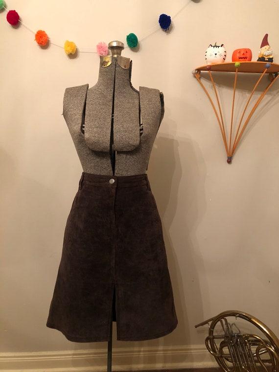 Vintage Brown Suede Skirt | Midi skirt | size 16