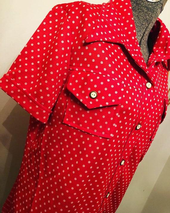 60s Red/Orange polka-dots | polyester  Pants Suit… - image 5
