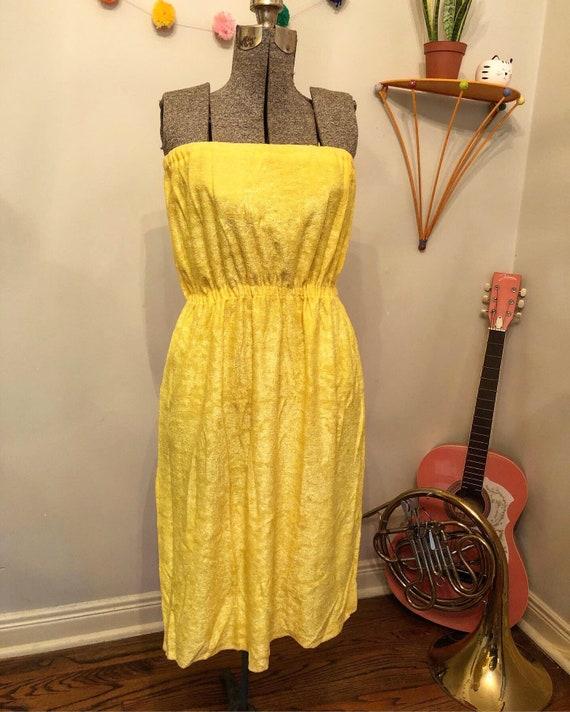 80s Yellow Towel Tube Dress