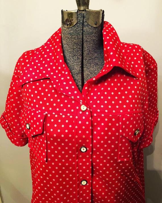 60s Red/Orange polka-dots | polyester  Pants Suit… - image 10