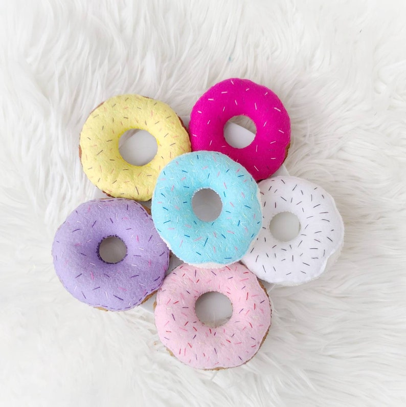 Felt Pretend Donuts  Play Food  Imagination Toys  Tea Party  Birthday Party