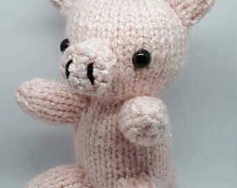 Hand Knit Pink Pig