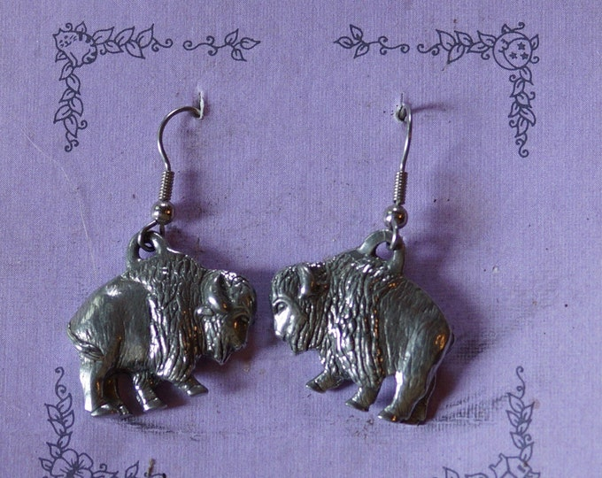 Danforth Buffalo wire pewter earrings, made in the USA