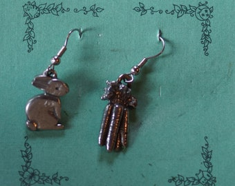 Danforth Bunny and Carrot wire earrings, pewter, made in the USA