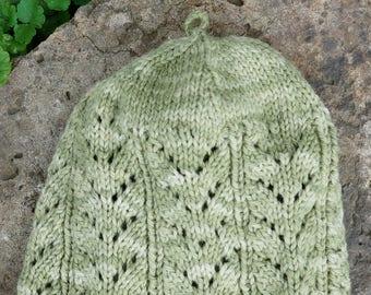 Kat's Patterns: Lace Knit Cap Ladies Knitting Pattern