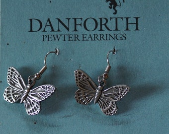 Danforth Butterfly wire pewter earrings, made in the USA