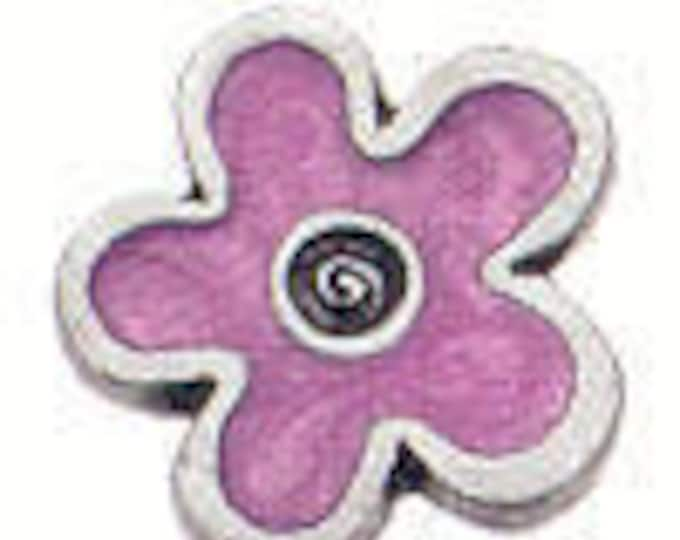 Danforth Button: Pink Enamel Flower shank pewter button