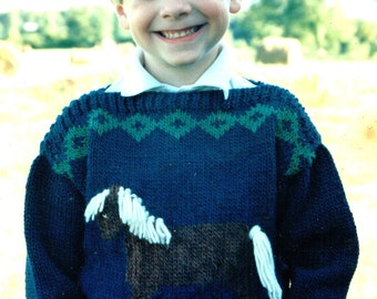 Country's Child Pattern 101 Gingersnap childs horse design sweater with easy boat neck