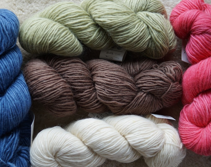 Mohair and wool worsted weight singles yarn from a USA farm, sale price