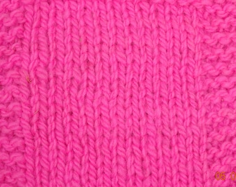 Neon Pink worsted wool hand dyed 230 yd skein soft wool yarn from our American farm, free shipping