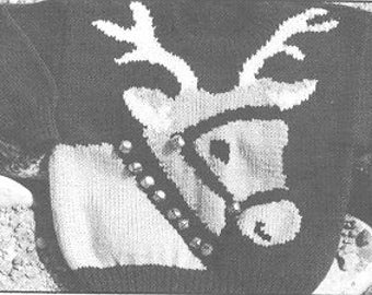 eweCanknit  Reindeer sweater pattern shild's sizes 2-8 uses worsted weight yarn