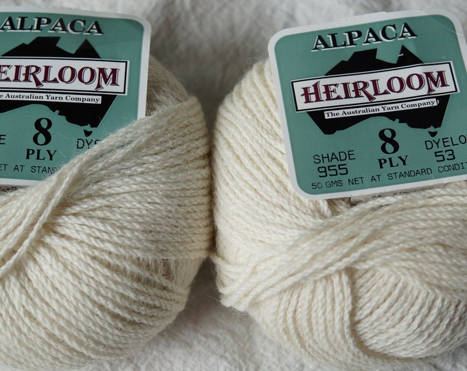 Alpaca yarn, 8 ply worsted weight choose white or gray, 100 percent alpaca, sale priced