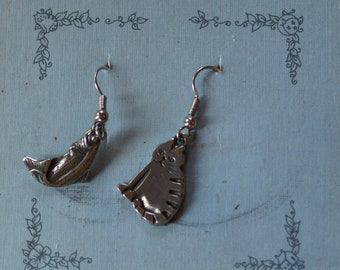 Danforth Barn Cat and Trout wire pewter dangle earings, made in the USA