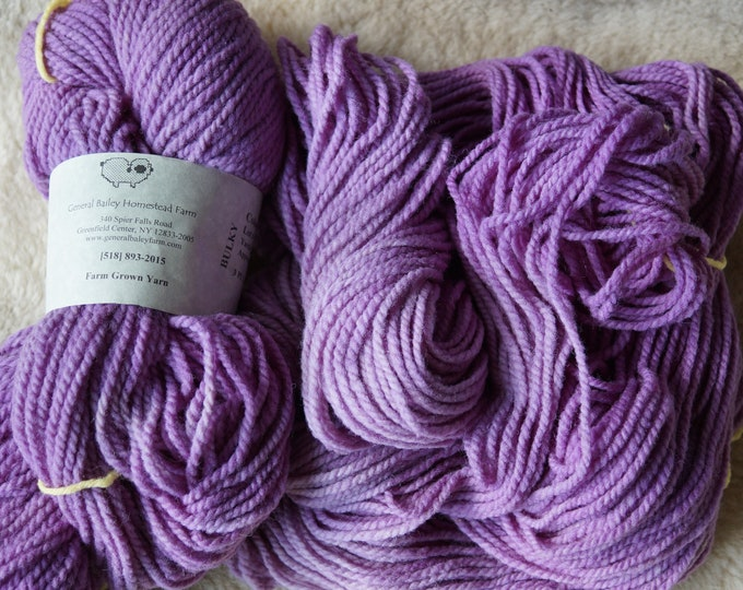 Shaded Lilacs bulky 2 ply soft wool yarn from our American farm, free USA shipping