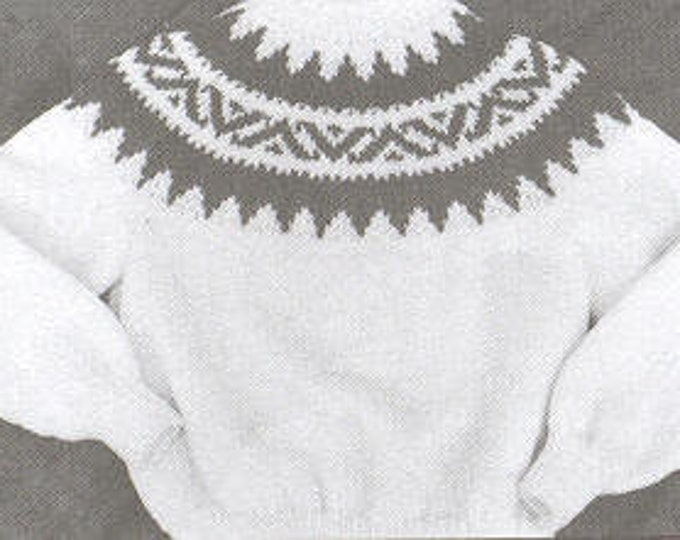 eweCanknit Fairisle yoke style sweater in child and youth pullover knitting pattern uses worsted weight yarn