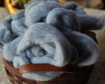 Recycled denim and wool roving for spinning light blue color made in the USA