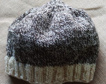 Ragg wool hat hand knit undyed merino wool farm yarn very soft from our USA farm