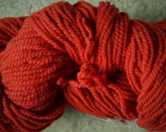Apple Red bulky 2 ply soft wool yarn from our American farm, free shipping