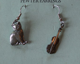 Danforth Cat and Fiddle pewter wire earrings, made in the USA