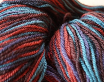 Teal-Purple-Persimmon 2 ply worsted wool multicolor soft yarn 594 yard skein