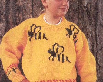 eweCanknit Bumblebees pullover sweater knitting pattern child's sizes 2-8 uses worsted weight yarn