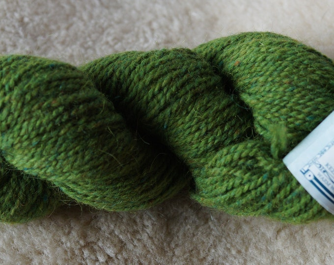 Peace Fleece Shaba Green wool and mohair 2 ply worsted weight yarn
