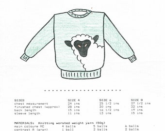 eweCanknit pattern Lamb pullover sweater kids sizes 4 to 8 knit uses worsted weight yarn