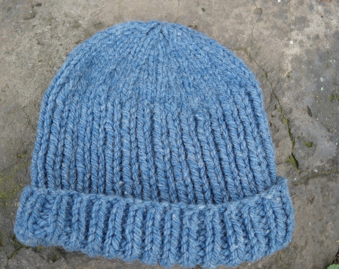 wool hat adult blue heather hand knit on our USA farm with American wool