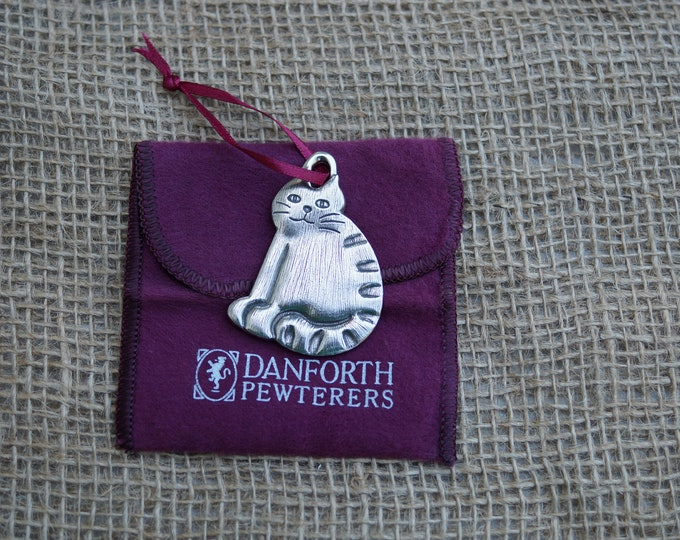 Barn Cat Christmas ornament from Danforth pewterers. Made in the USA.