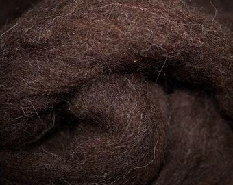 Dark Welsh natural dark brown wool roving