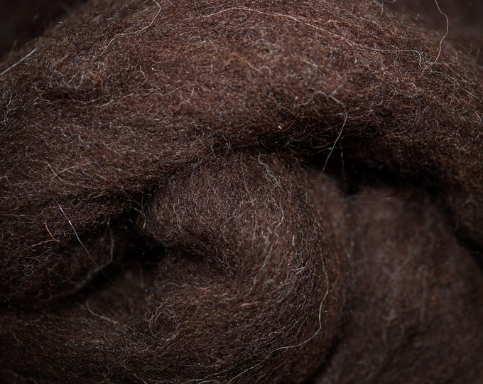 Dark Welsh natural dark brown wool roving